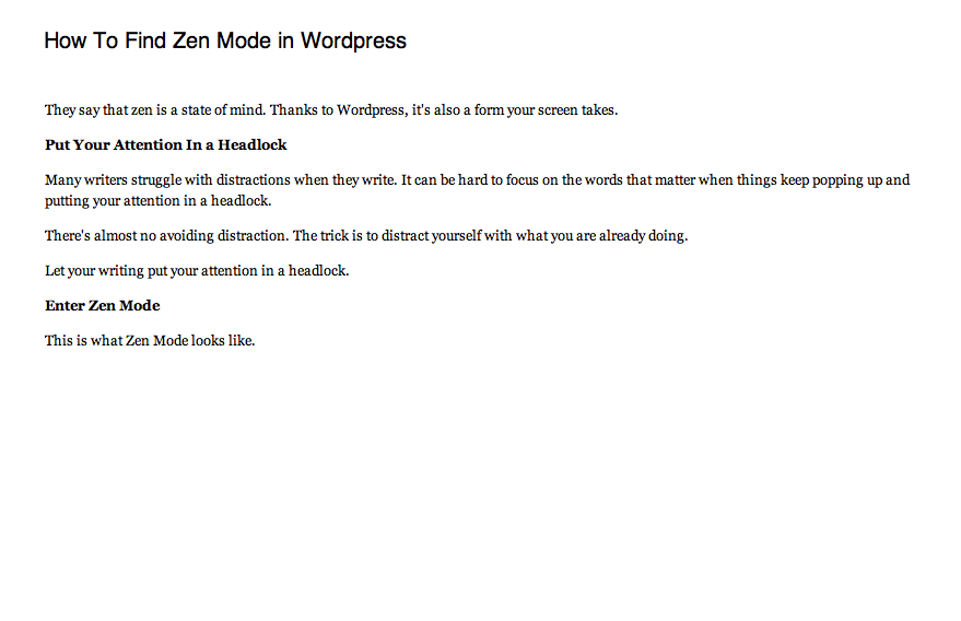 Wordpress Zen Mode